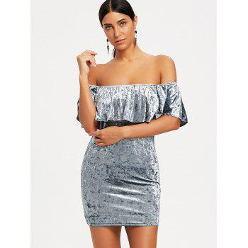 Off The Shoulder Velvet Bodycon Dress - GRAY S