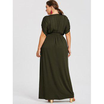 Plus Size Plunge Longline Dress With Belt - BLACKISH GREEN 4X