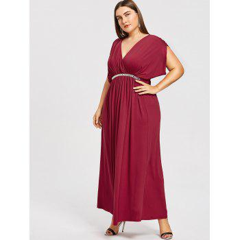 Plus Size Plunge Prom Maxi Dress - RED WINE 1X
