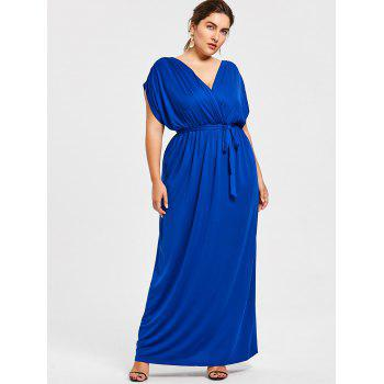 Plus Size Plunge Longline Dress With Belt - BLUE 4X