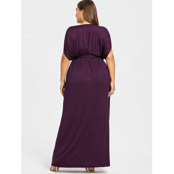 Plus Size Plunge Longline Dress With Belt - PURPLE 4X