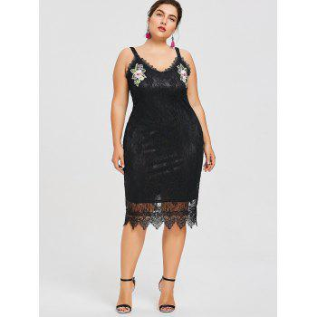 Plus Size Sleeveless Embroidered Lace Dress - BLACK XL