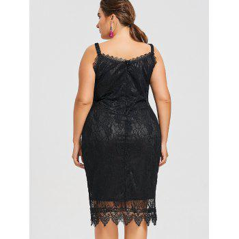 Plus Size Sleeveless Embroidered Lace Dress - BLACK 2XL