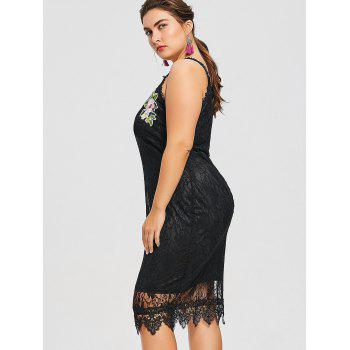 Plus Size Sleeveless Embroidered Lace Dress - BLACK 5XL