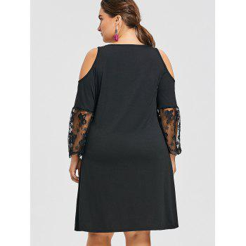 Plus Size Cold Shoulder Illusion Print Dress - BLACK 3XL
