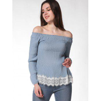 FRENCH BAZAAR Off The Shoulder Long Sleeve Top - BABY BLUE M