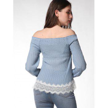 FRENCH BAZAAR Off The Shoulder Long Sleeve Top - BABY BLUE L