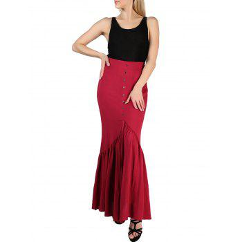 FRENCH BAZAAR High Waisted Long Pleated Button Skirt - RED M