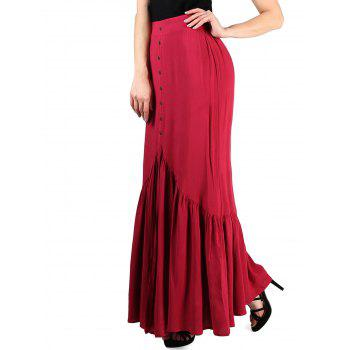 FRENCH BAZAAR High Waisted Long Pleated Button Skirt - RED L