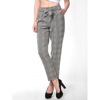 FRENCH BAZAAR Plaid Striped Casual Long Suit Pants With Pockets - LIGHT GREY S