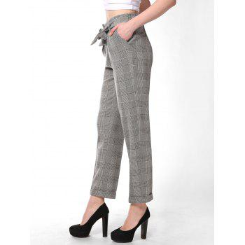 FRENCH BAZAAR Plaid Striped Casual Long Suit Pants With Pockets - LIGHT GREY M