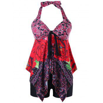 Halter Printed Handkerchief Backless Tankini Set - COLORMIX XL