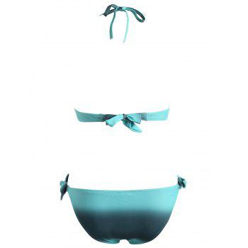 Front Bow Ombre Print Bikini Set - MACAW BLUE GREEN 2XL