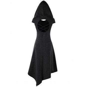 2018 Hooded Criss Cross Cut Out Handkerchief Dress BLACK M In Casual