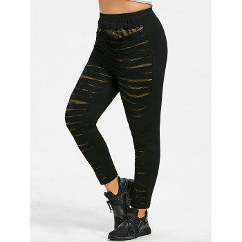 Camo Print Plus Size Tight Pants - BLACK XL