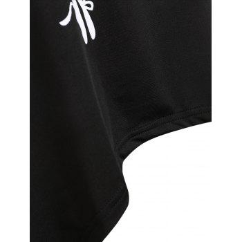 Music Note High Low Lace Insert Tank Top - BLACK L