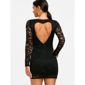 Heart Cut Full Sleeve Mini Lace Dress - BLACK XL