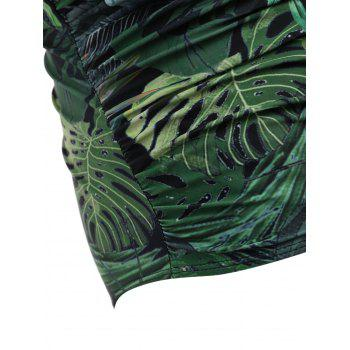 Halter Plus Size Leaf Print One Piece Swimsuit - GREEN 4XL