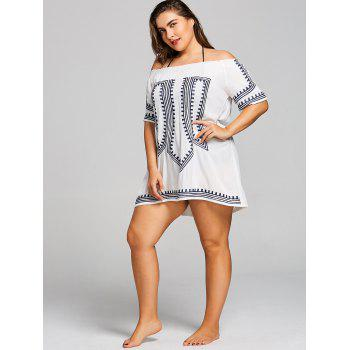 Plus Size Smocked Embroidered Cover Up - WHITE ONE SIZE