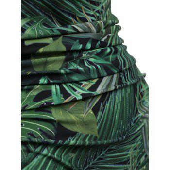 Halter Plus Size Leaf Print One Piece Swimsuit - GREEN 3XL