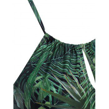Halter Plus Size Leaf Print One Piece Swimsuit - GREEN XL