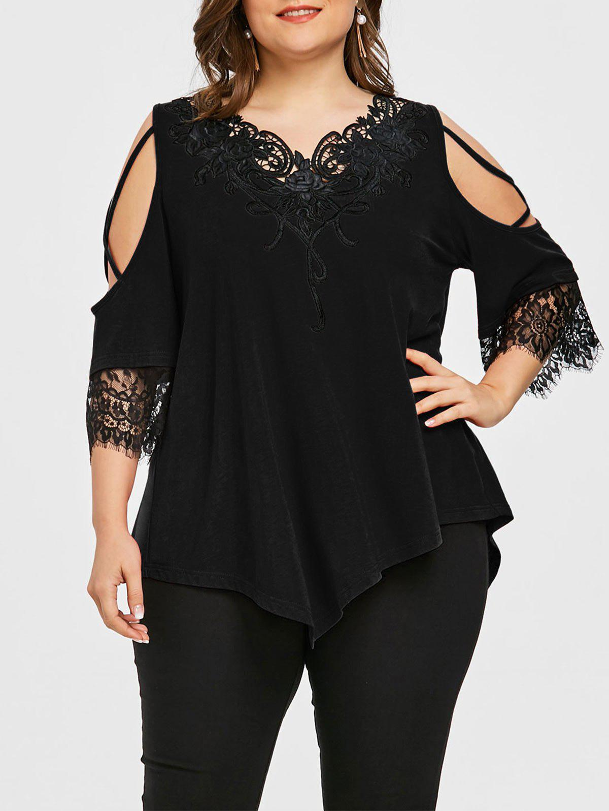 Plus Size Two Tone Appliqued Cold Shoulder T-shirt plus size v neck two tone t shirt