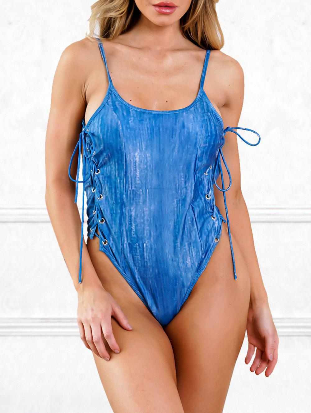 Sides Lace Up Backless One Piece Swimsuit - COBALT BLUE XL