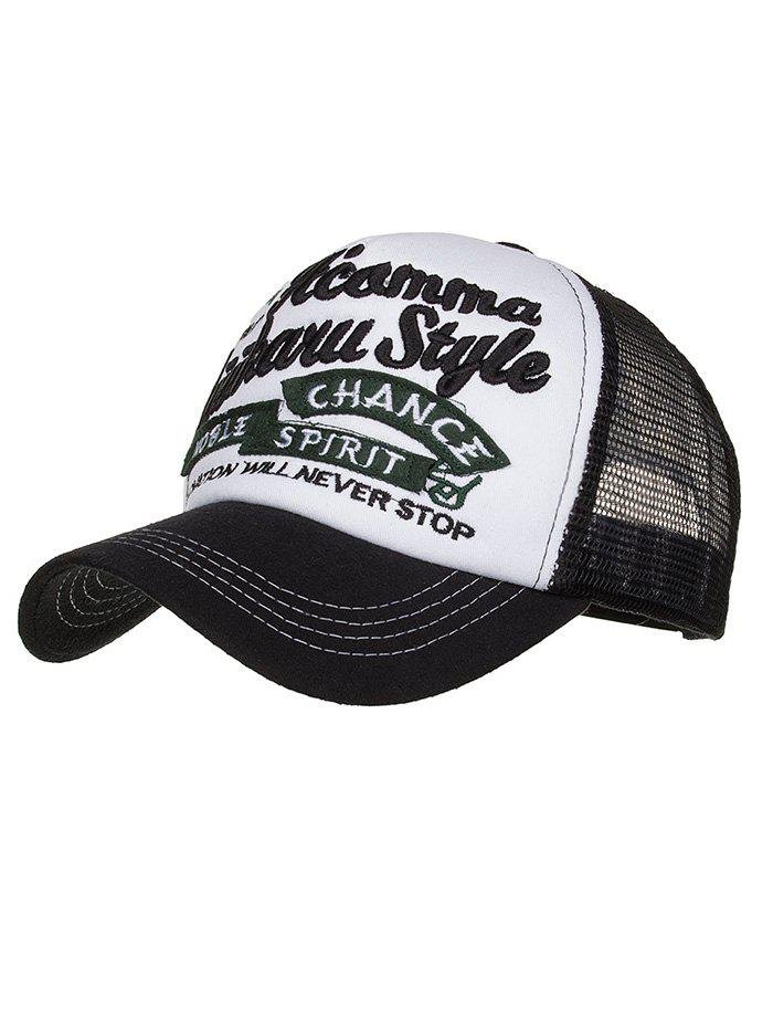 Letter Embroidery Breathable Mesh Baseball Hat - BLACK