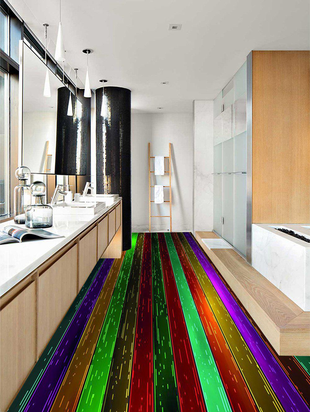 Shinny Colorful Wood Grain Print Floor Decals - multicolor G 3PCS: 20*39 INCH