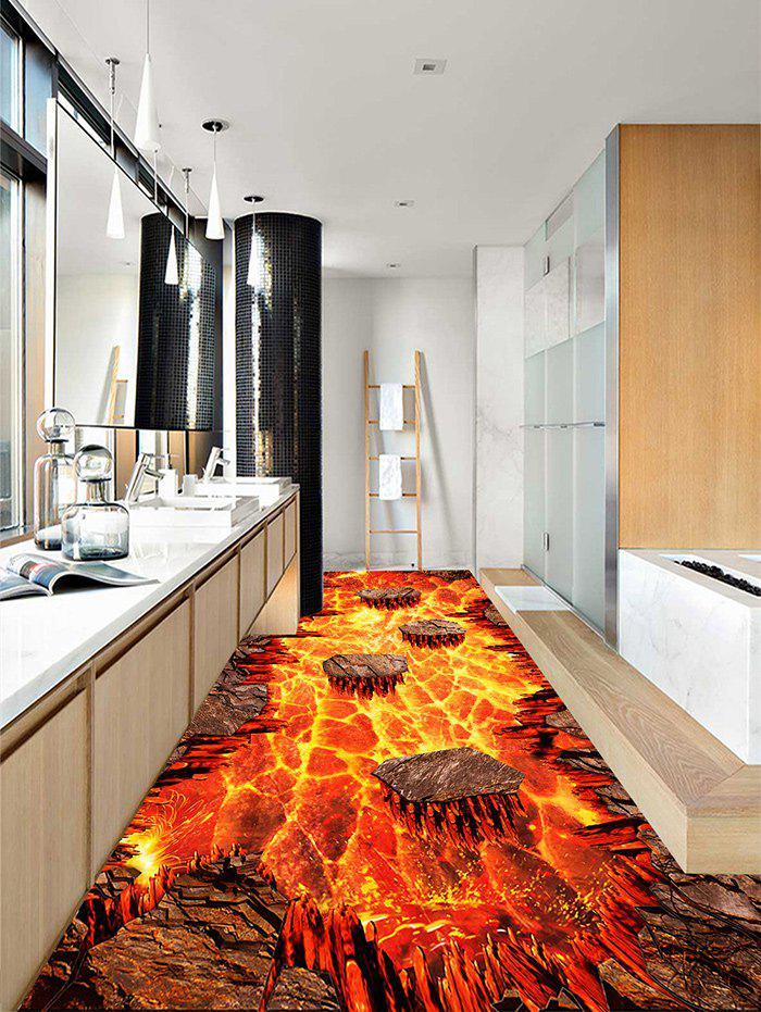 Volcanic Lava Patterned Decoration Floor Stickers - PAPAYA ORANGE 3PCS: 20*39 INCH
