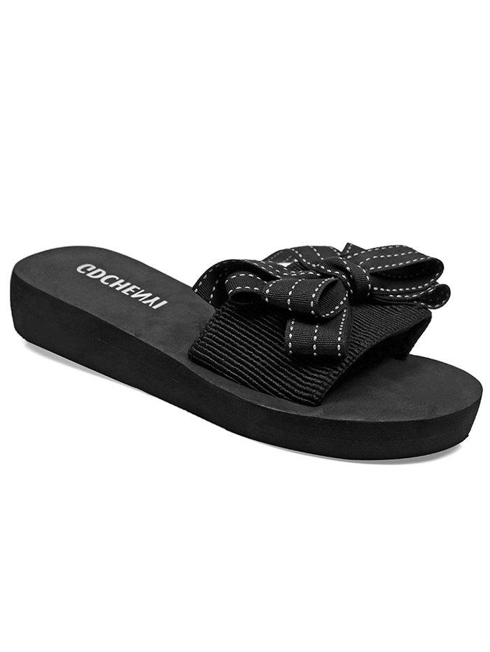 Casual Bow Decorated Slides for Beach - BLACK 40