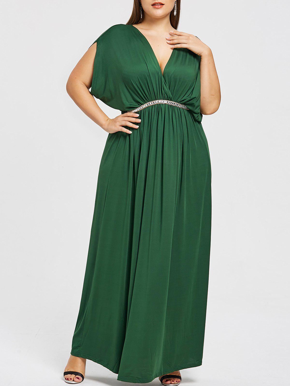 Plus Size Plunge Prom Maxi Dress - GREEN 3X