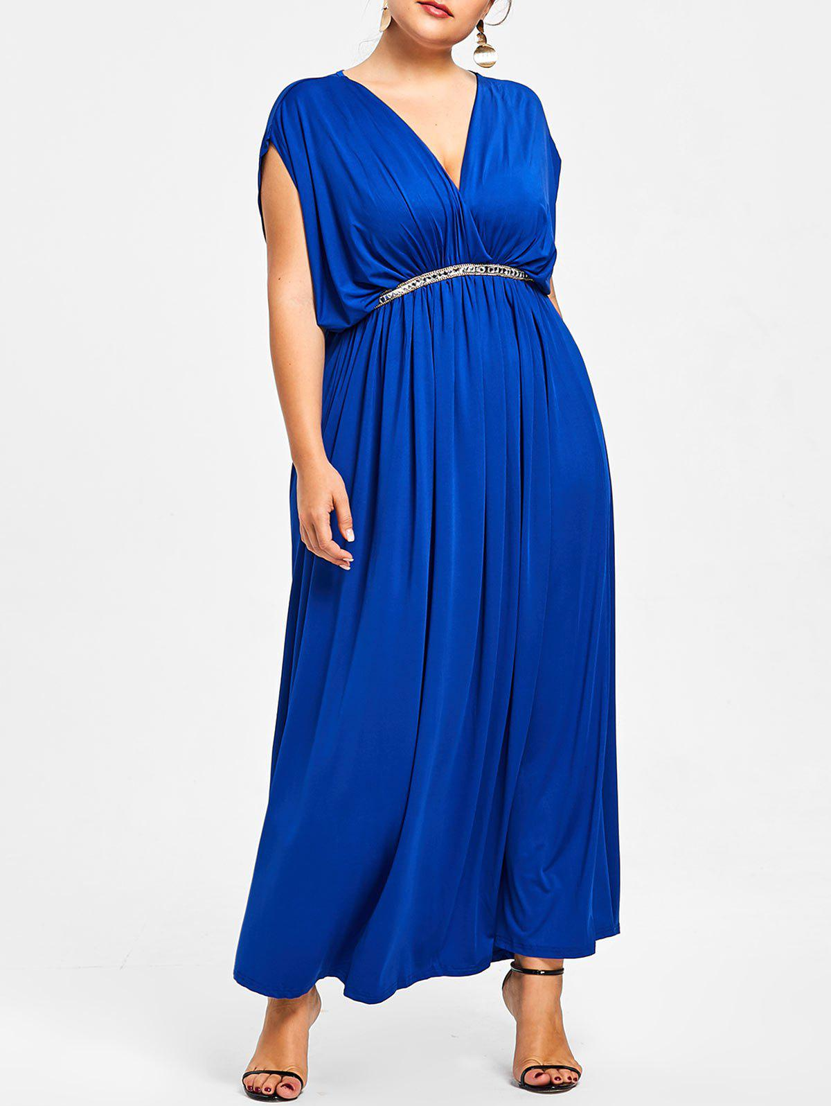 Plus Size Plunge Prom Maxi Dress - BLUE 2X