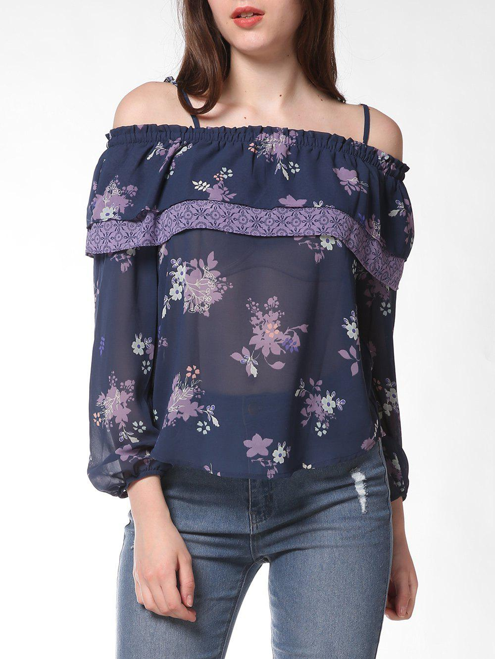 FRENCH BAZAAR Floral Print Strap Cold Shoulder Ruffle Blouse - SLATE BLUE XL