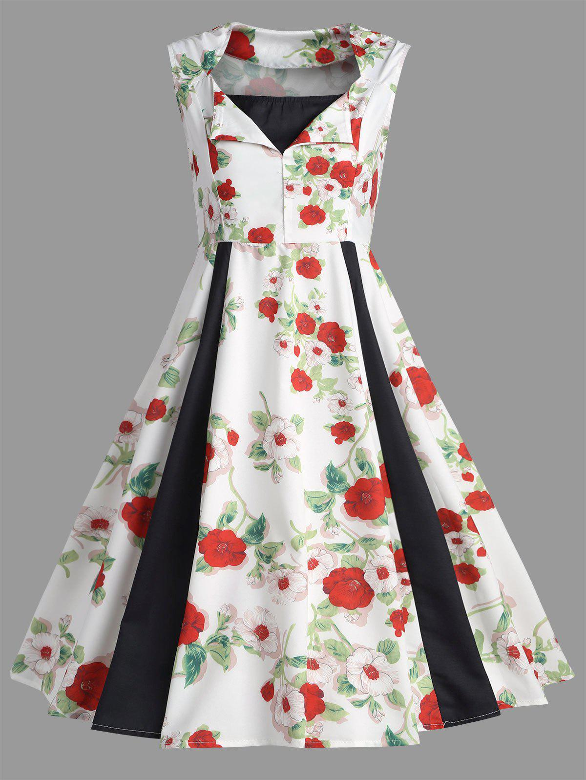 Patchwork Vintage Floral Print A Line Dress overbearing arrogance law anime one piece pvc action figure classic collection model garage kit doll toy