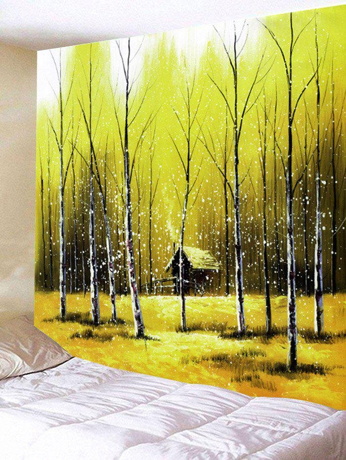 Forest House Printed Wall Decor Tapestry - YELLOW GREEN W59 INCH * L51 INCH