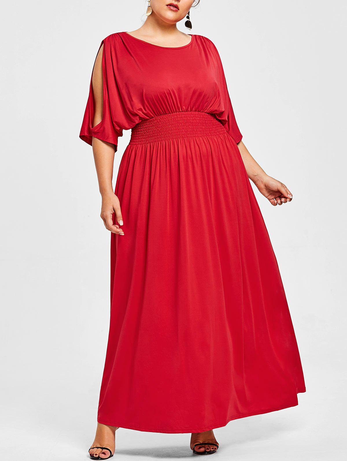 Slit Sleeve Plus Size Elastic Waist Maxi Dress - RED 3X