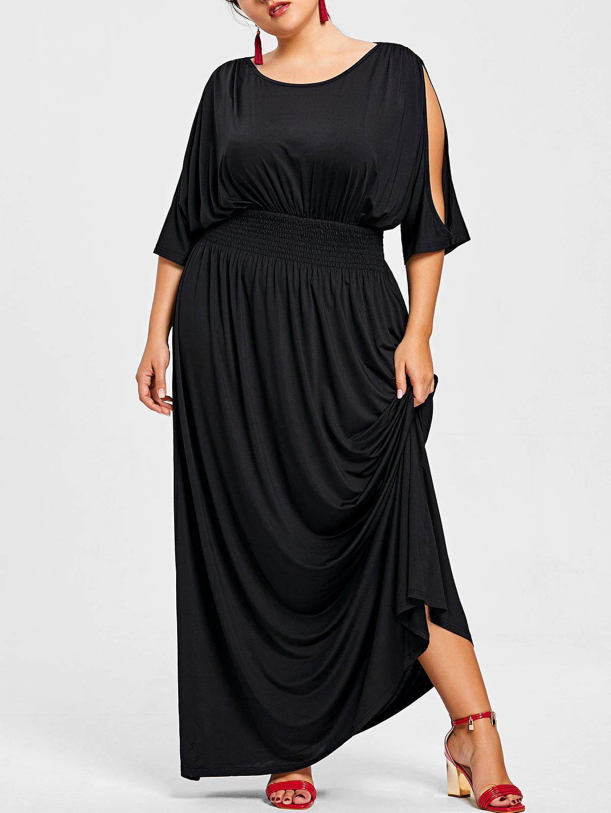 Slit Sleeve Plus Size Elastic Waist Maxi Dress - BLACK 3X