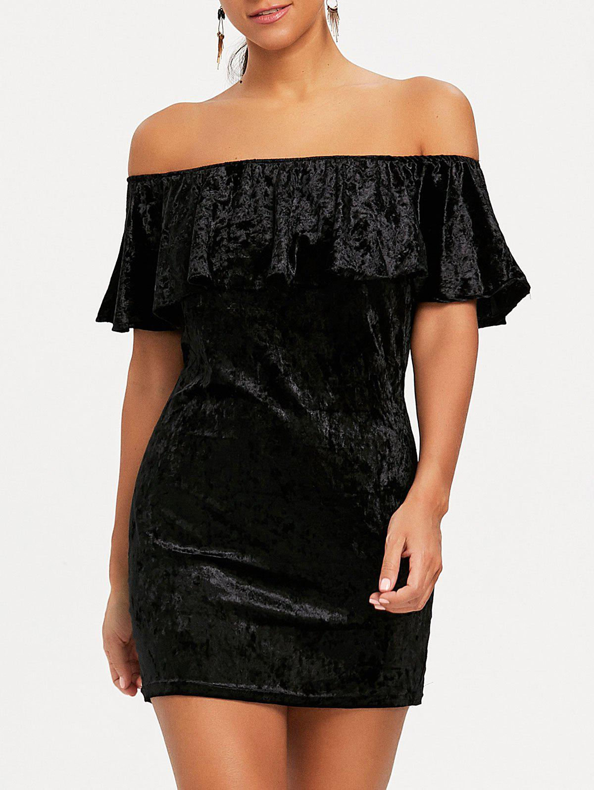 Off The Shoulder Velvet Bodycon Dress - BLACK XL