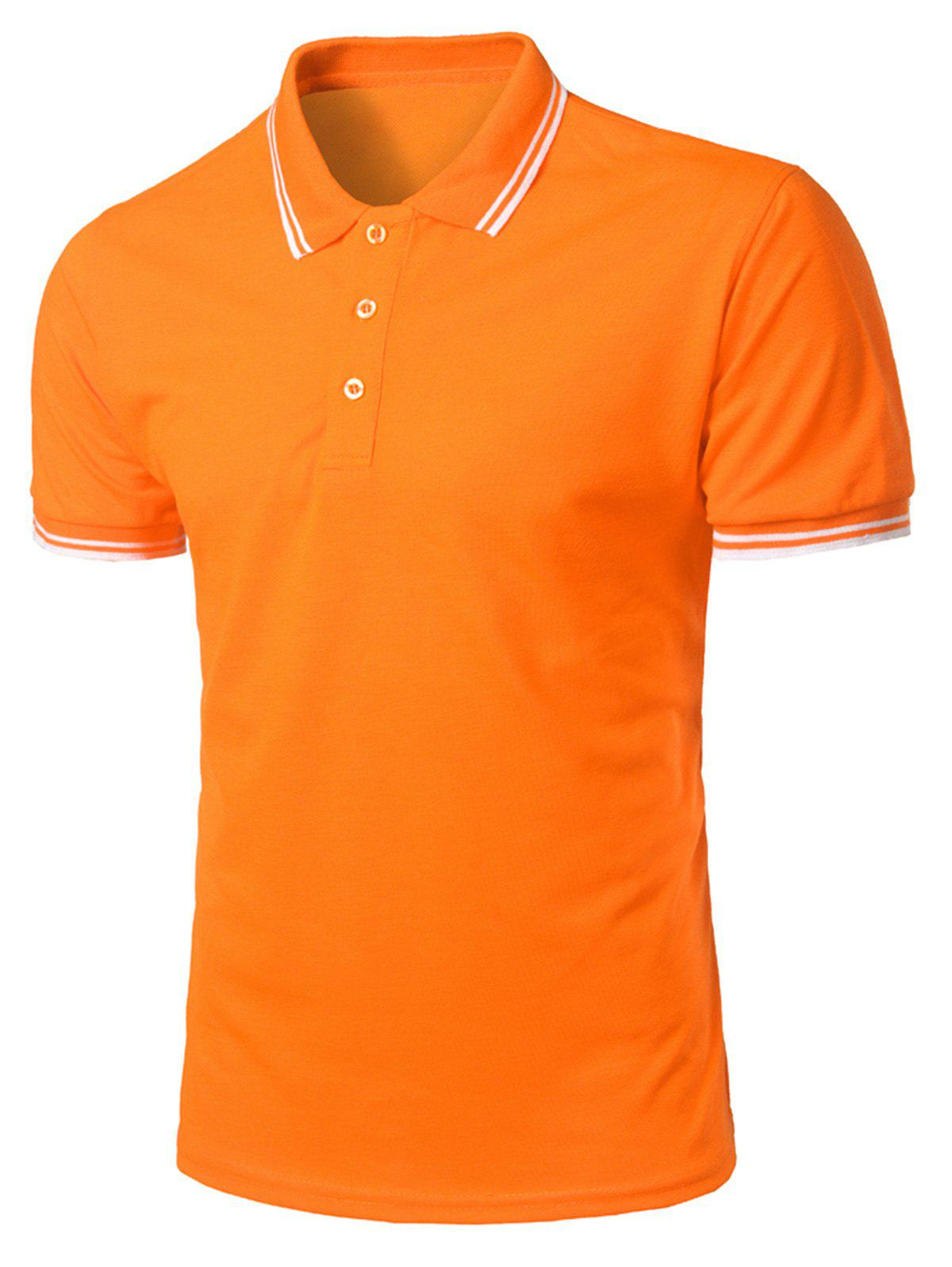Half Button Stripe Trim T-shirt - ORANGE 3XL
