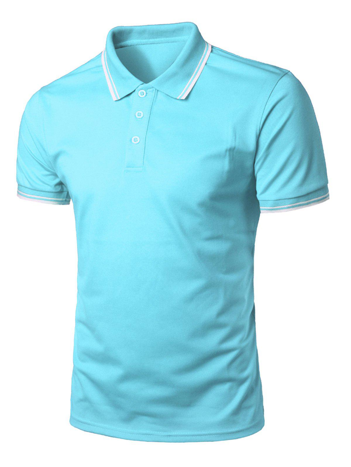 Short Sleeve Half Button Polo Shirt - TURQUOISE L