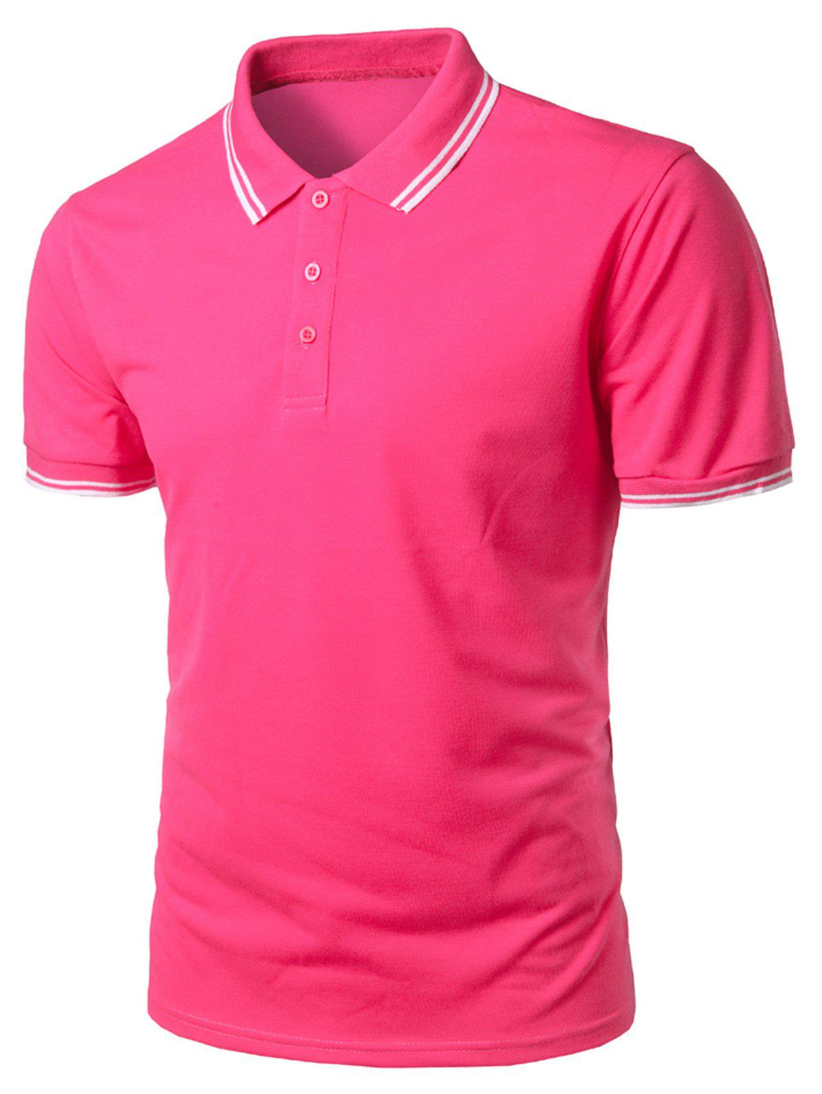Short Sleeve Half Button Polo Shirt - PINK LEMONADE 3XL