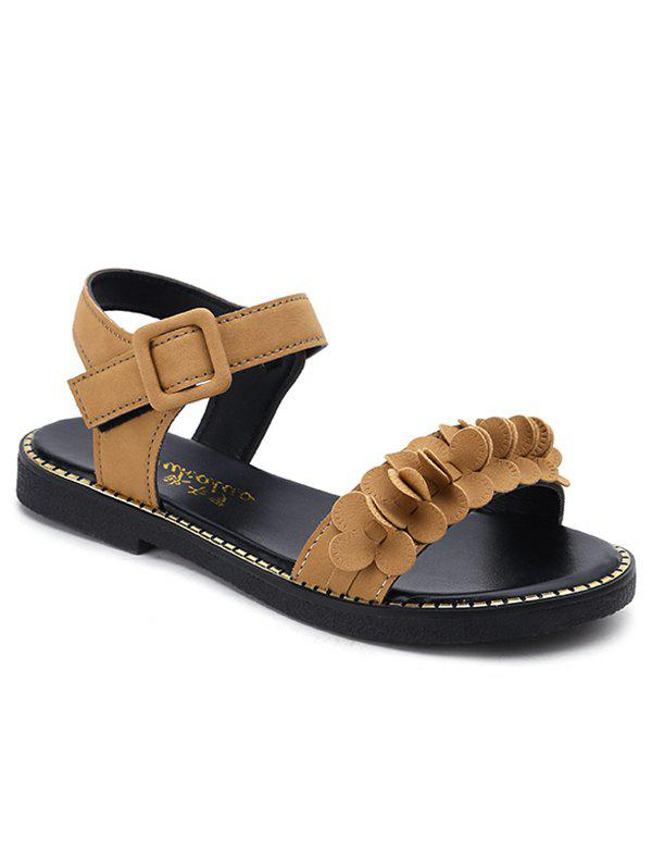 Buckled PU Leather Flower Two Strap Sandals sale with mastercard limited edition RkeSR