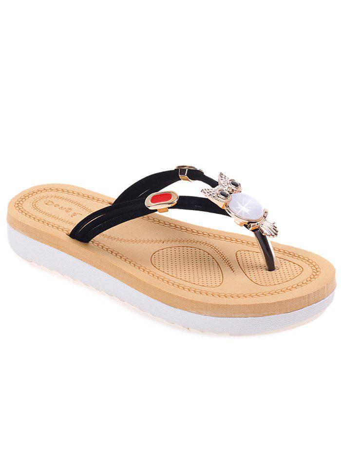Critter Pattern Metallic Thong Sandals - BLACK 37