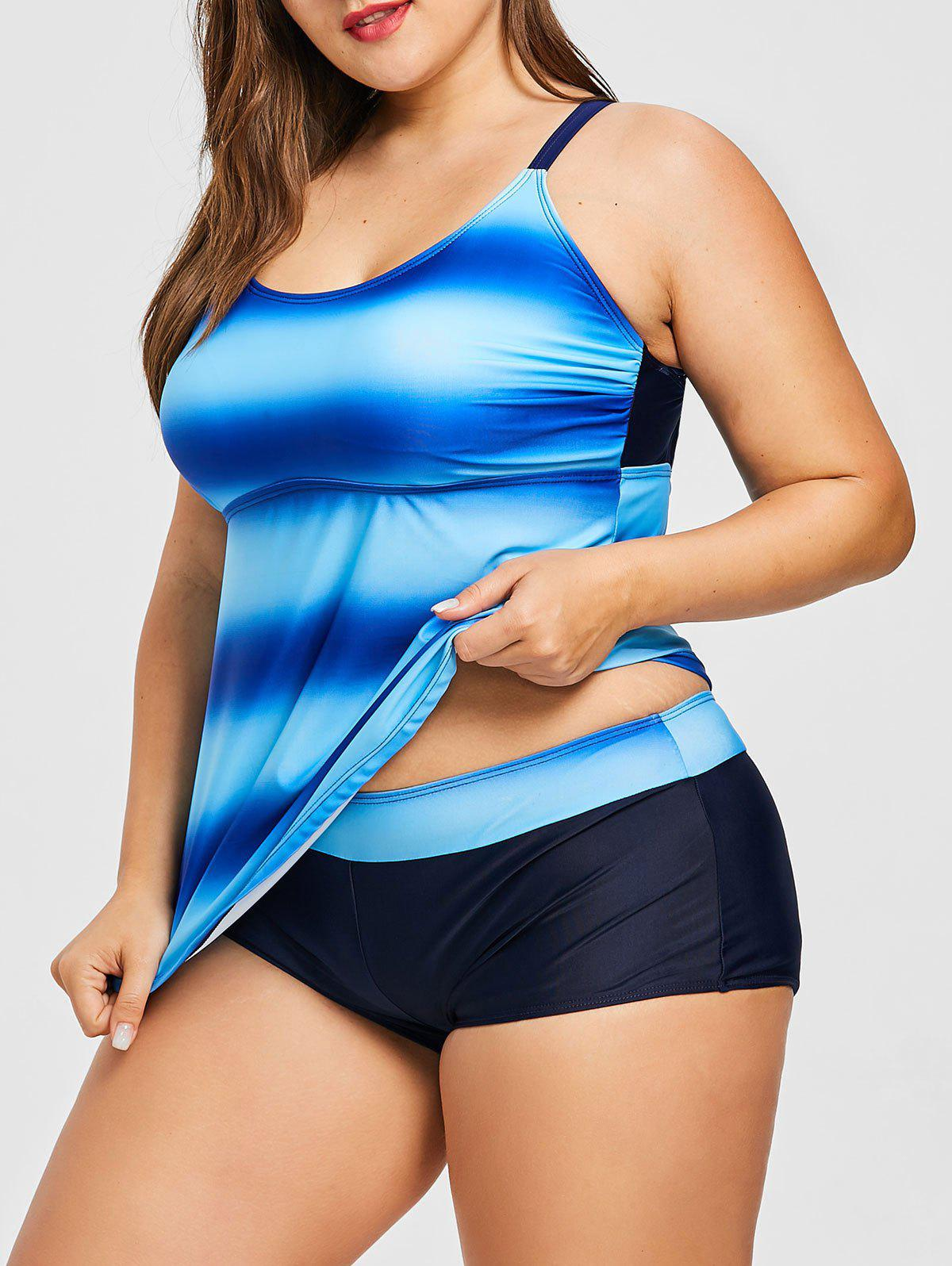 Plus Size Printed Criss Cross Tankini Set - BLUEBERRY BLUE 5XL