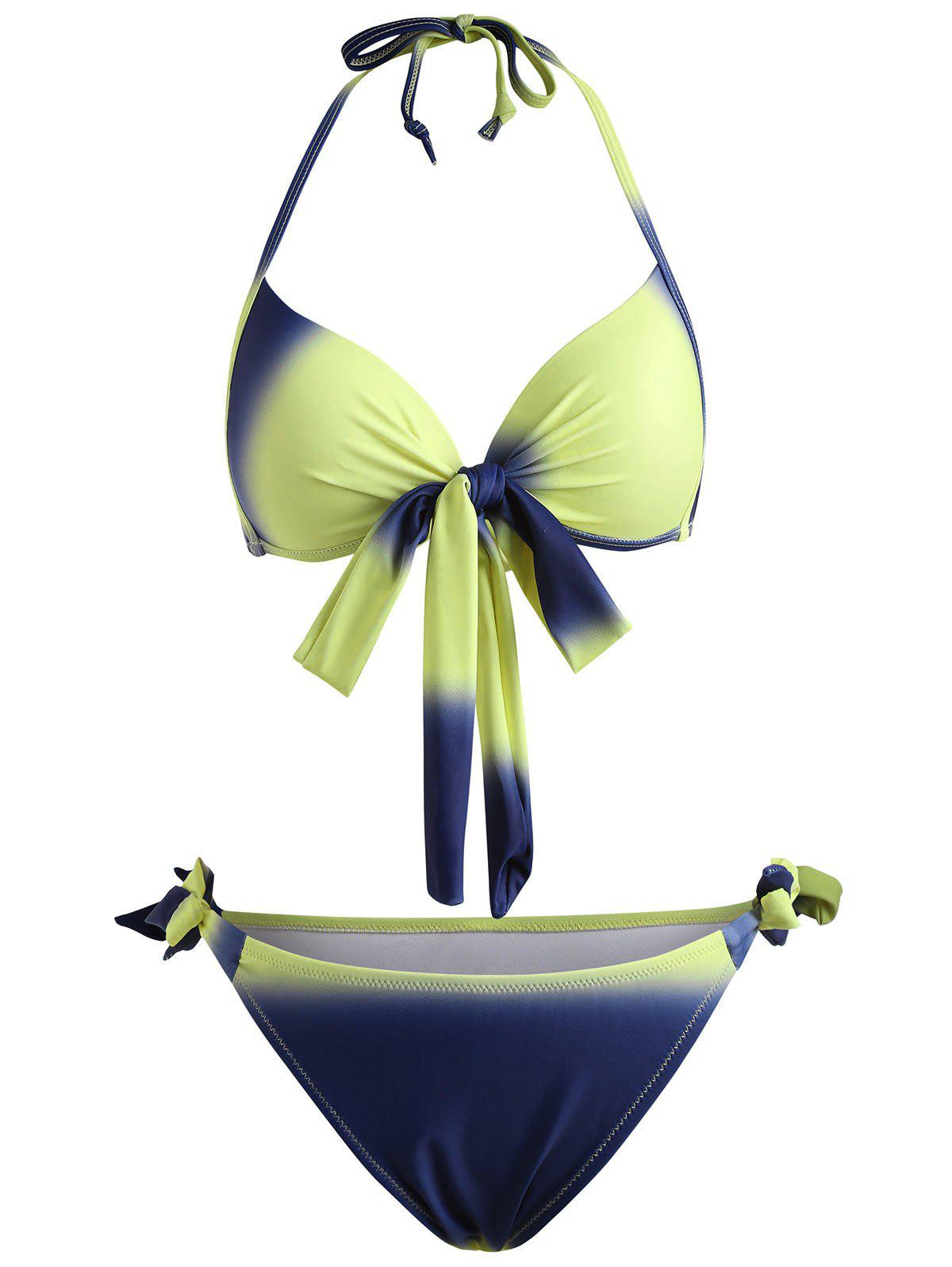 Front Bow Ombre Print Bikini Set - YELLOW XL