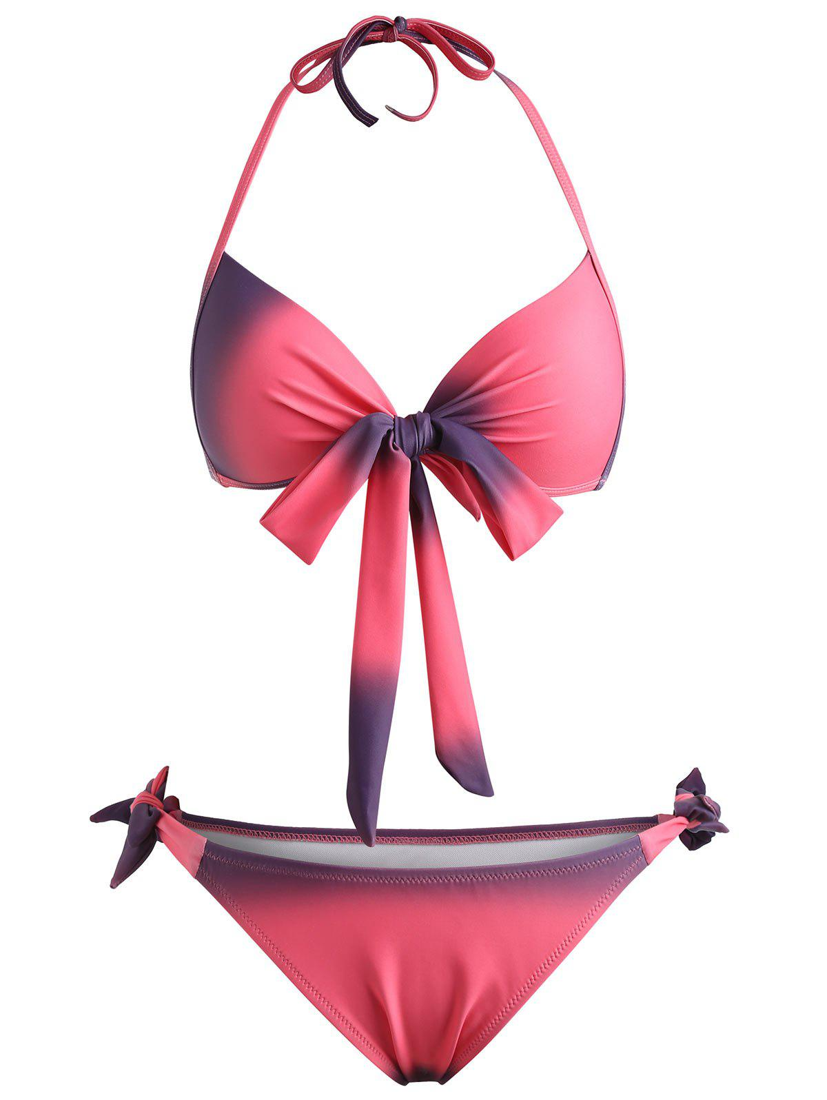 Front Bow Ombre Print Bikini Set - LIGHT PINK 2XL