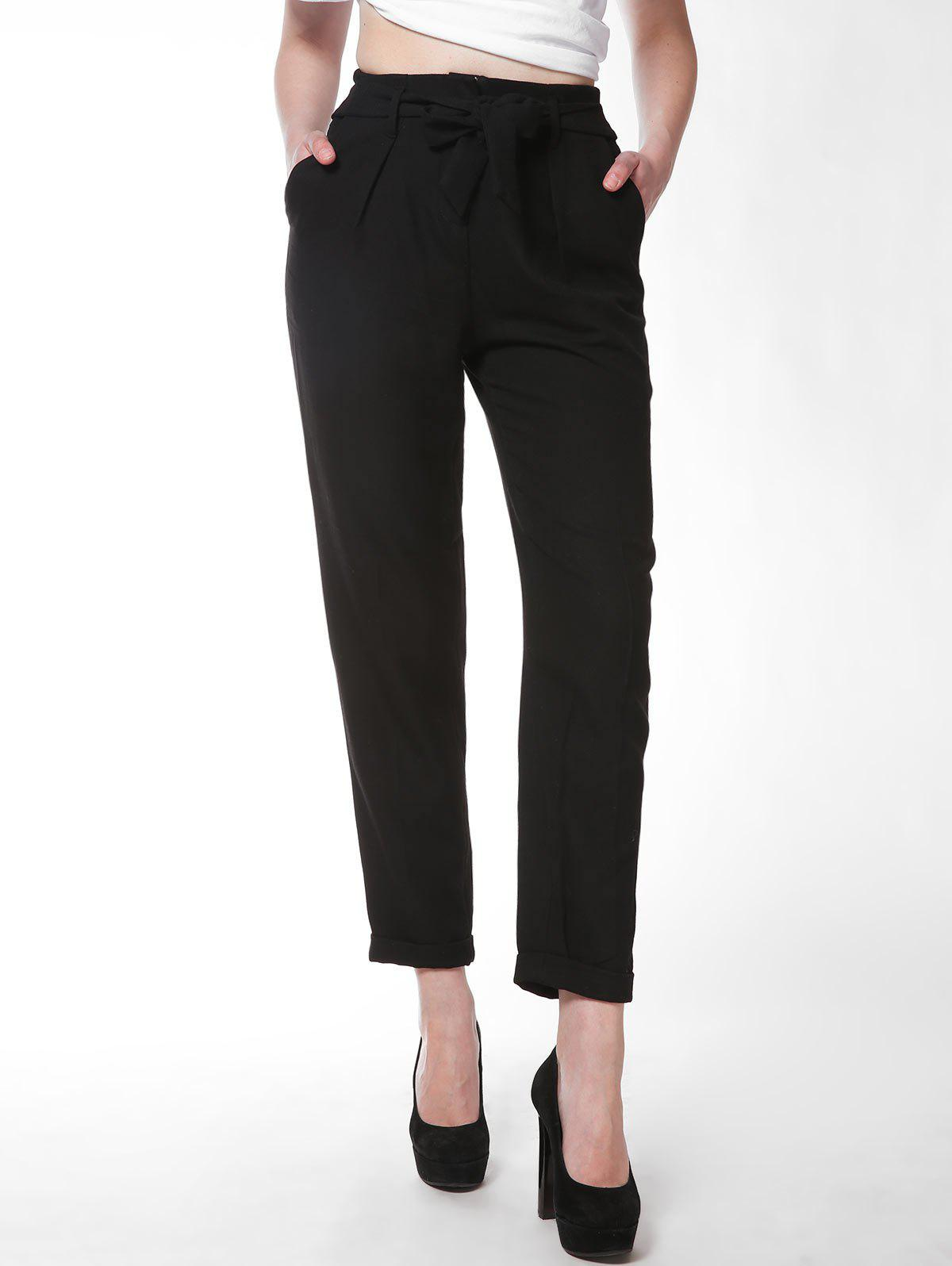 FRENCH BAZAAR Full Length Slim Fit Business Suit Pants - BLACK M