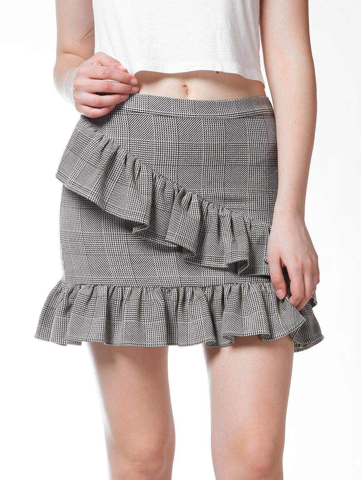 FRENCH BAZAAR Plaid Ruffle Mini Bodycon Skirt - LIGHT GREY S