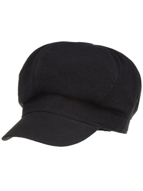 Soft Solid Color Line Embroidery Beret - BLACK